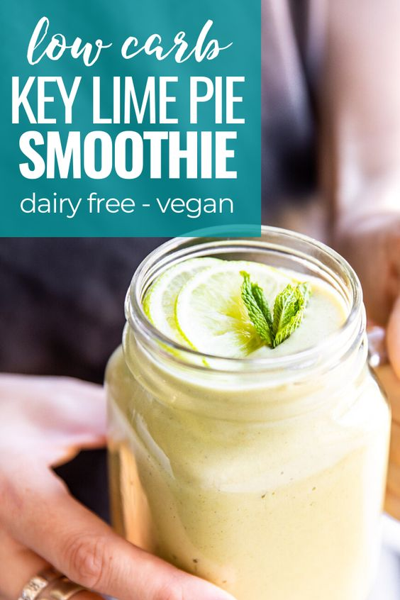 key lime pie smoothie in girls hand and title graphic