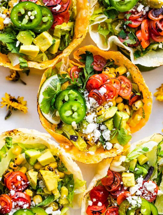 keto taco salad cups with cheese and peppers