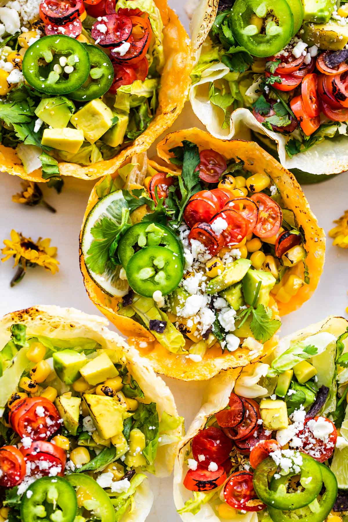 keto taco salad in cheese taco shell bowls