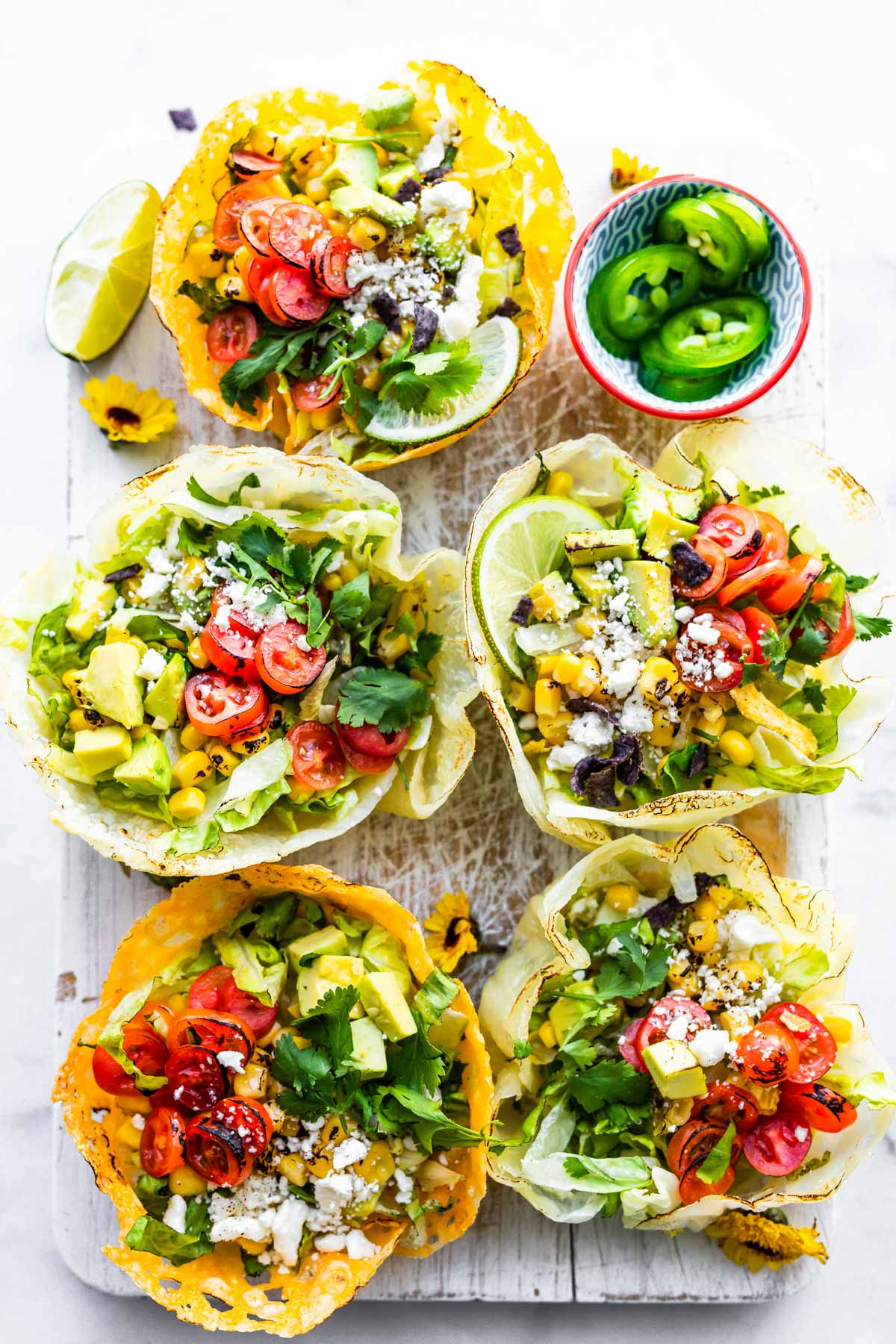 vegetarian keto taco salad dinner in bowls made from cheese