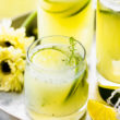 glasses of sugar free Brazilian limeade garnished with fresh mint on drink serving tray