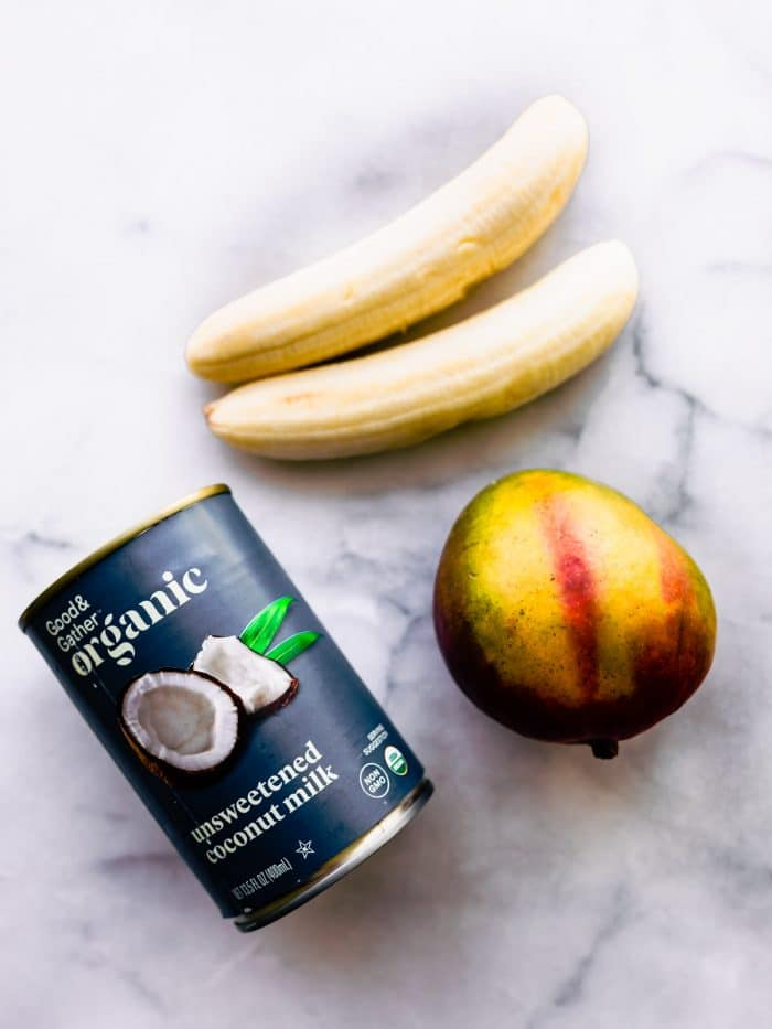 2 bananas, whole mango and can of coconut milk to make a nice cream recipe