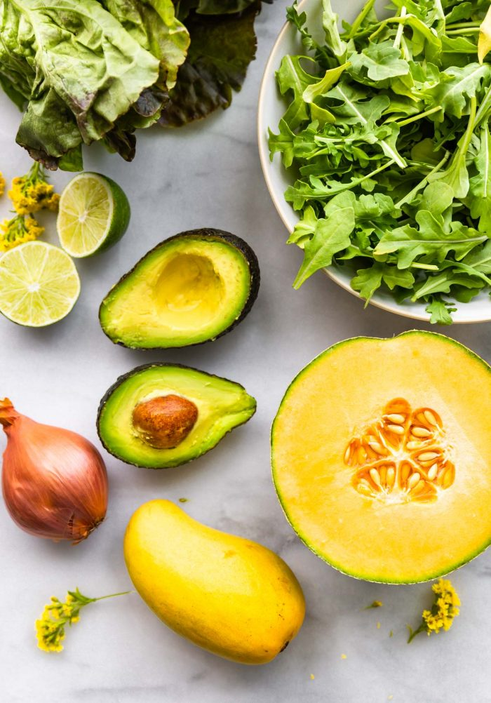 fresh melon, avocado, arugula, lime and other mango salad ingredients