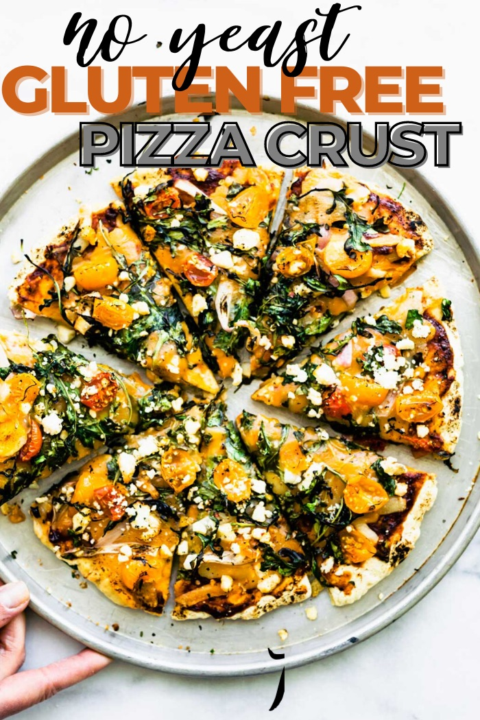 no yeast pizza crust + recipe pin - bold text of title up top