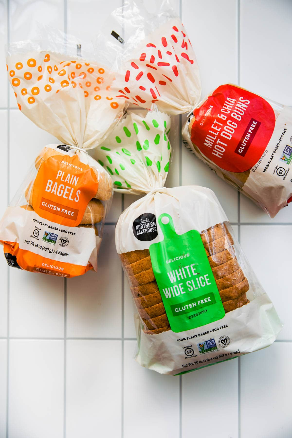 Little Northern Bakery brand bread, bagels, and buns, all in store packaging