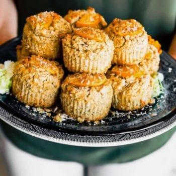 platter of coconut orange oat muffins
