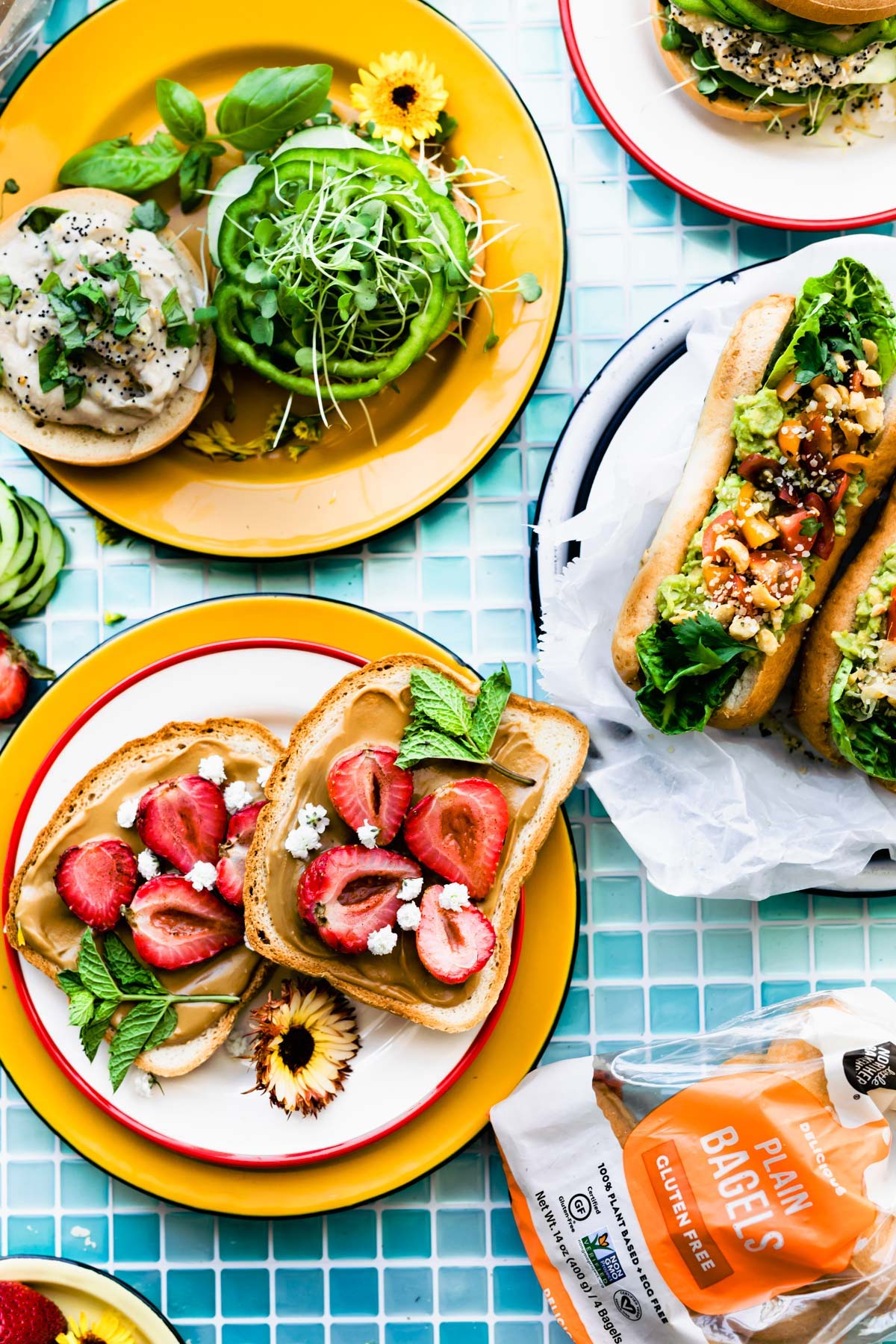 3 vegan and gluten free lunch box sandwiches on colorful plates