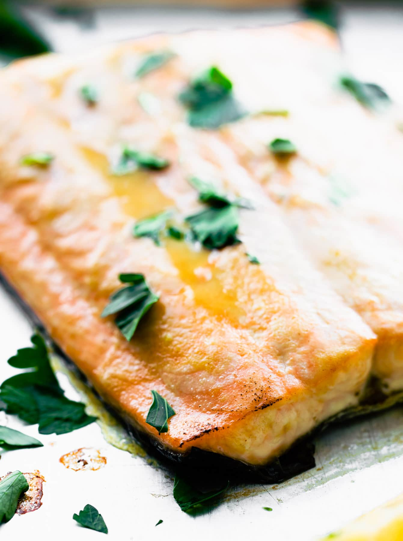 close up: baked maple mustard salmon fillet