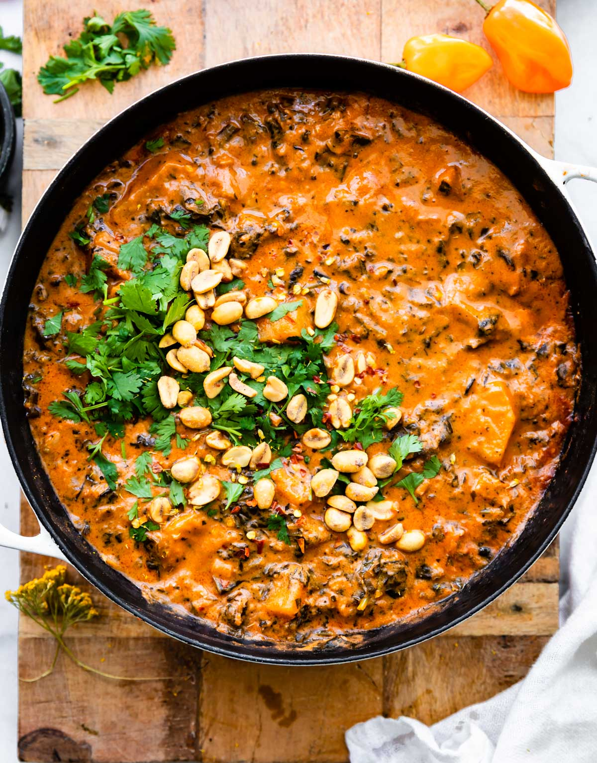 overhead: large pot of spicy stew garnished with peanuts and cilantro