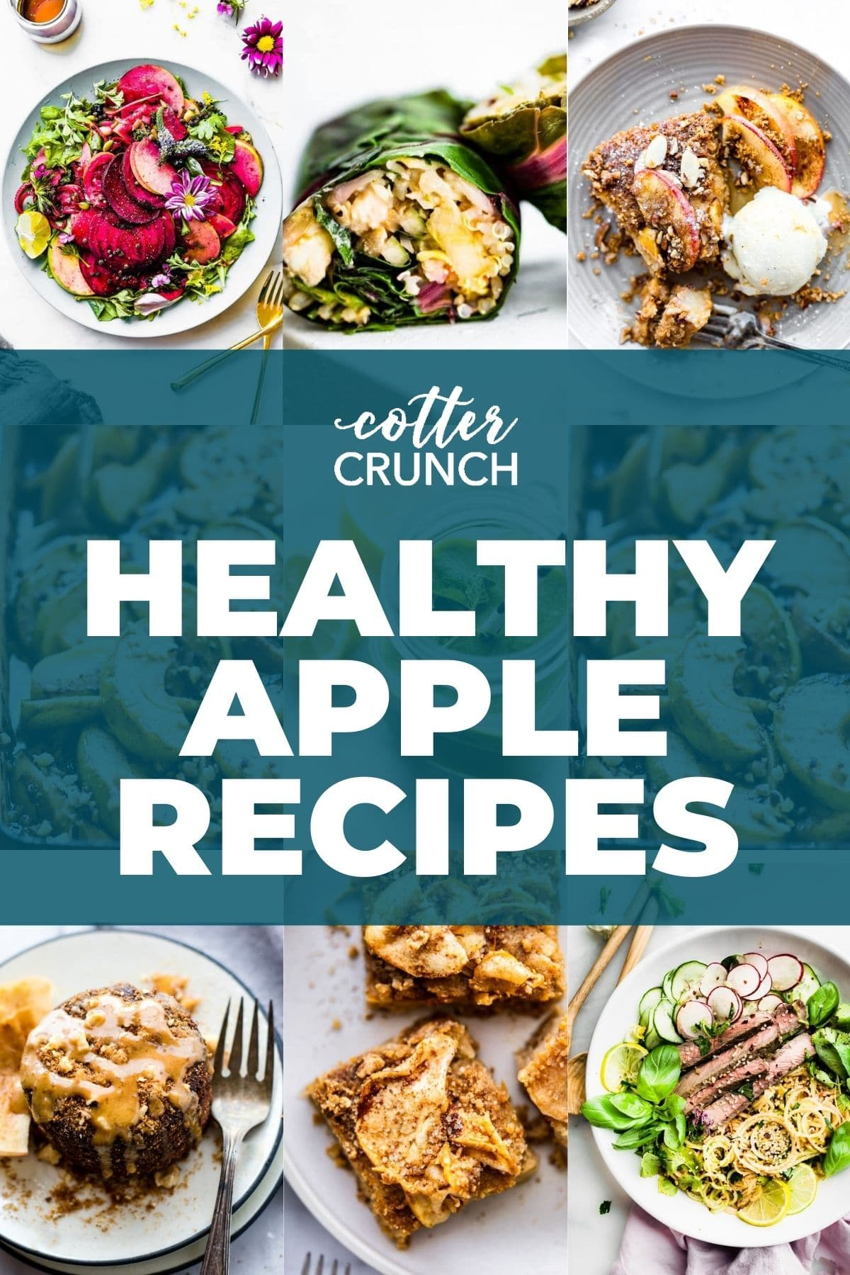 Grid images of healthy apple recipes to make