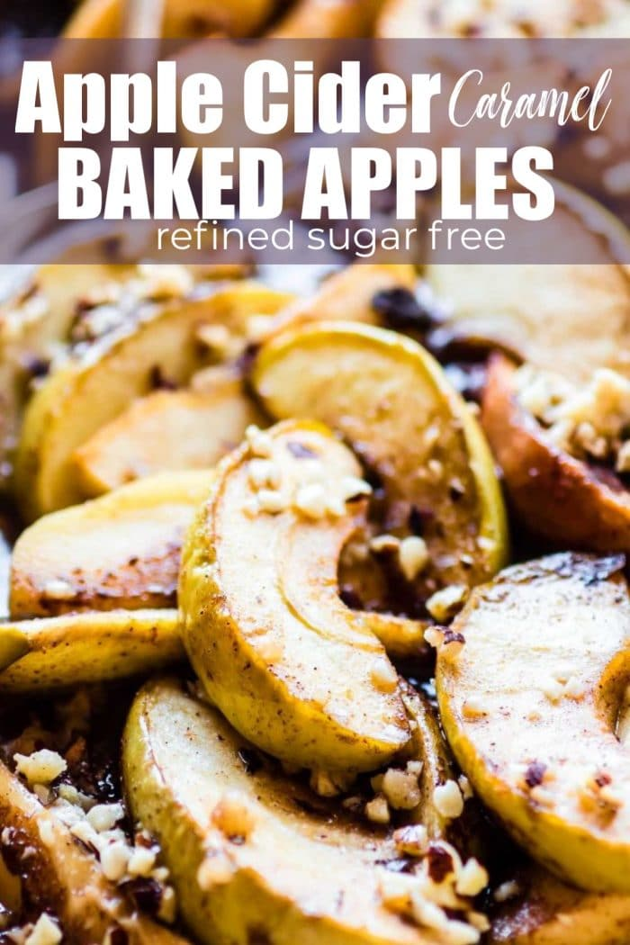 baked apples in pan with caramel and nuts