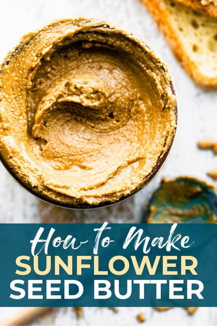overhead closeup: creamy sunflower butter in a jar with pin title banner