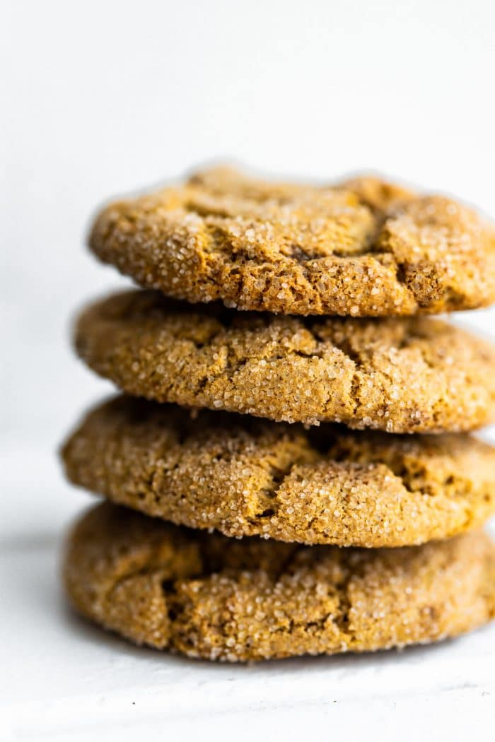 stack of 4 gluten free Christmas cookies (snickerdoodles)