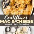 titled Pinterest photo (and shown): low carb cauliflower mac and cheese