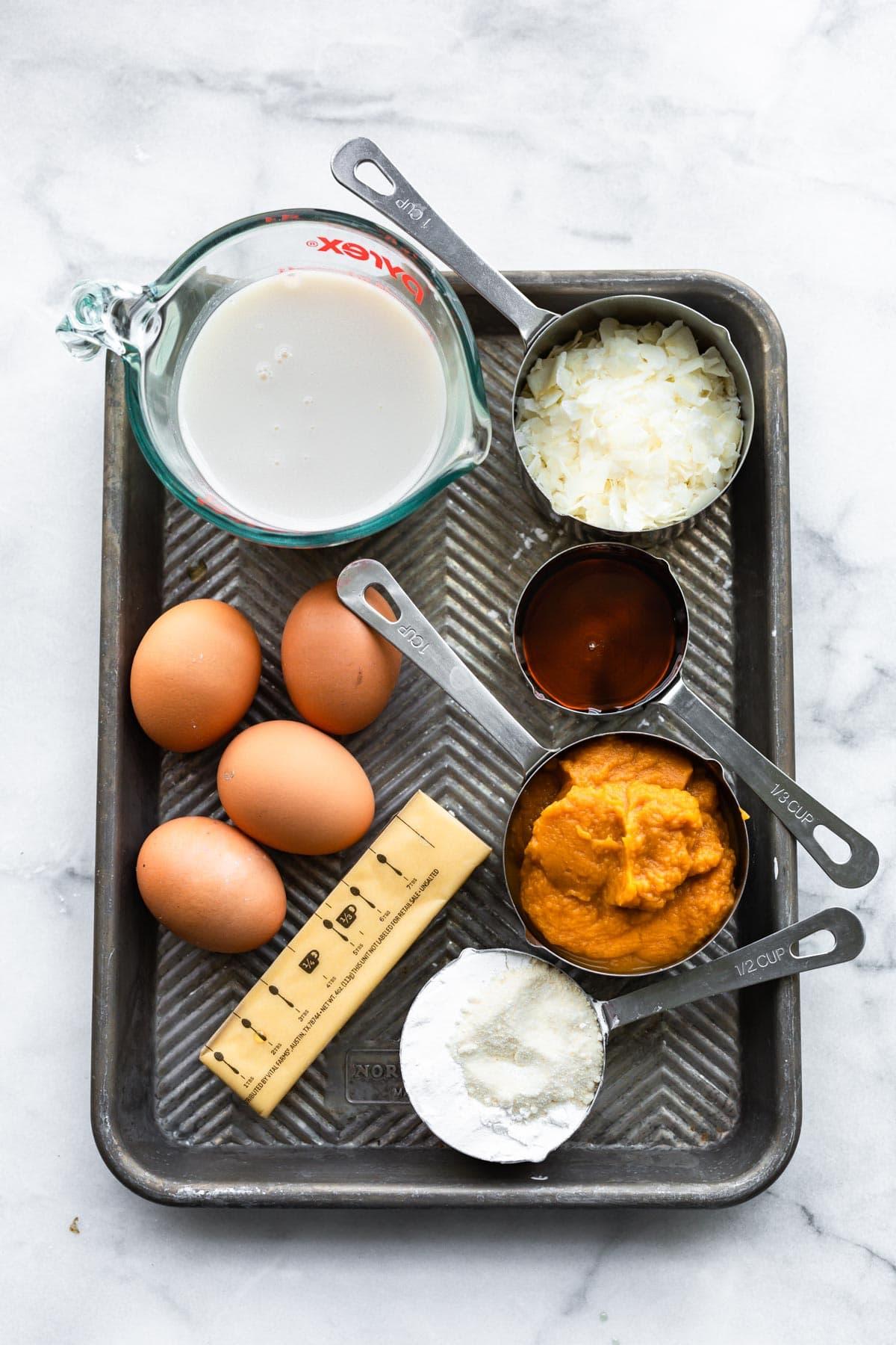 overhead photo: ingredients on baking sheet to make Paleo sweet potato pie recipe
