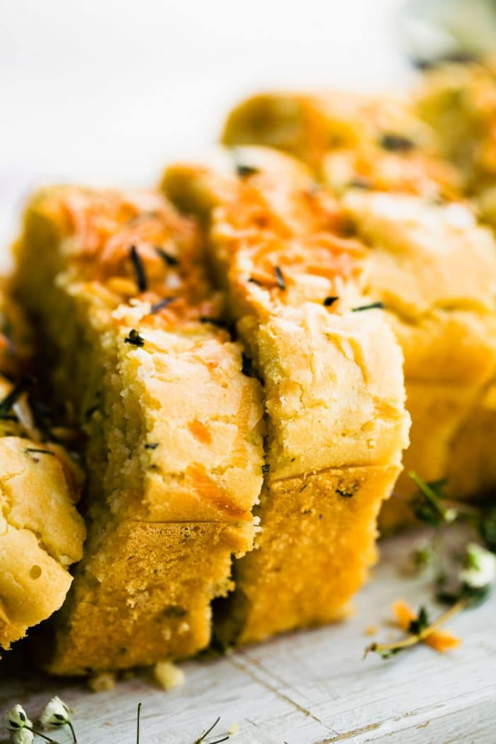 close up photo: slices of homemade mashed potato bread