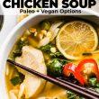 thai soup with chopsticks iin bowl