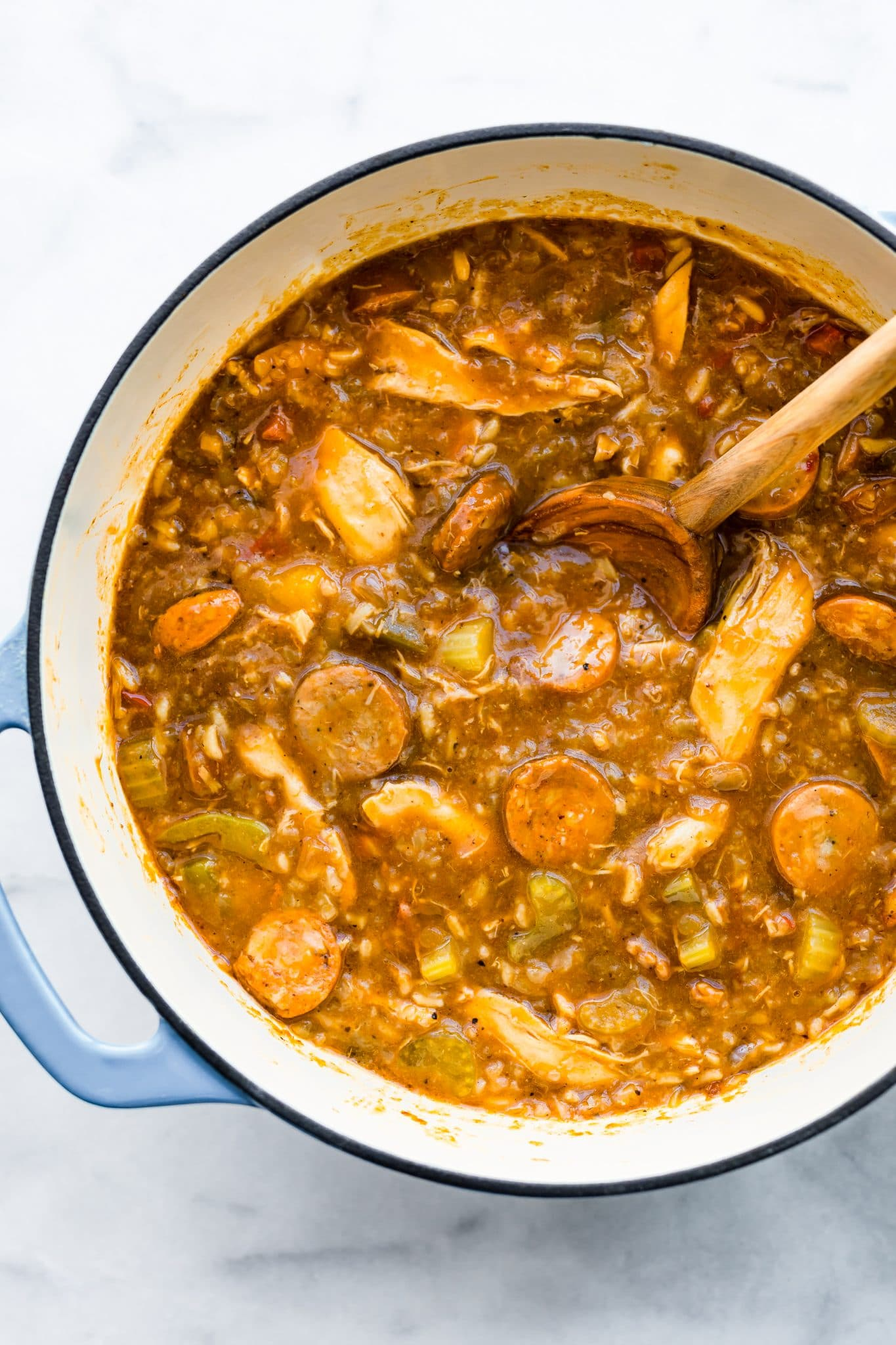 overhead image: large pot of gumbo made with leftover turkey
