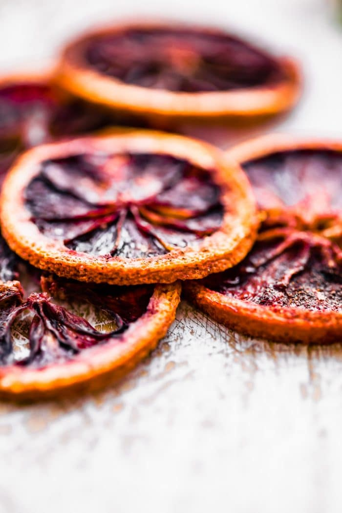 close up image of dehydrated orange slices