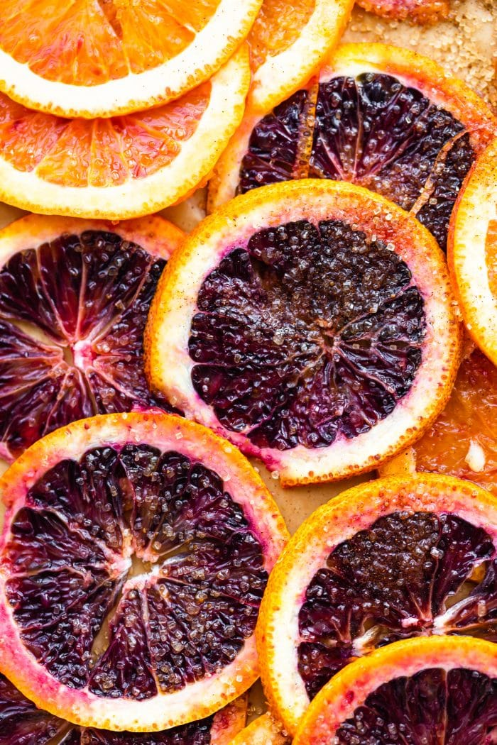 blood orange slices sprinkled with sugar and spices
