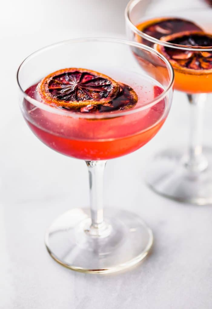 oven dried orange slices as garnish in cranberry cocktails