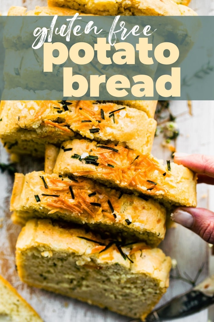 titled Pinterest photo (and shown): Gluten Free Potato Bread (cut into slices)