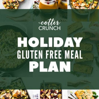 titled photo collage with recipe photos for a holiday gluten free meal plan