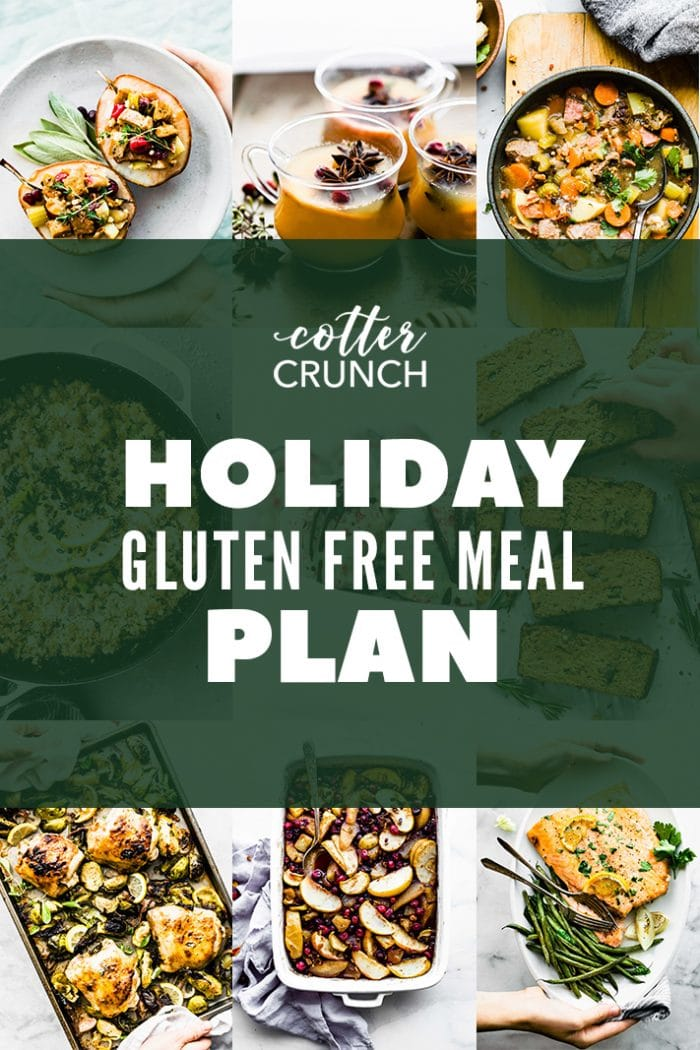 titled photo collage of holiday gluten free meal plan recipes