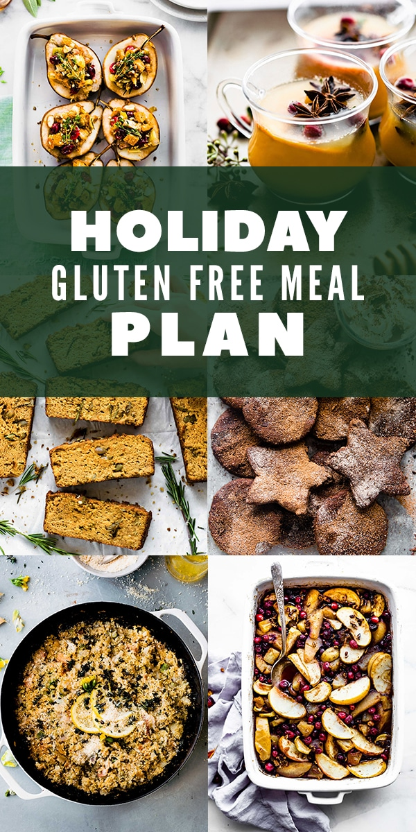long vertical photo collage with food for a gluten free holiday dinner