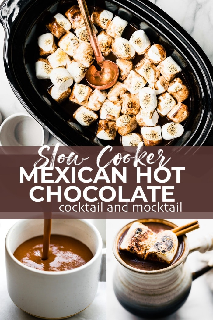 titled Pinterest image (and shown): Slow Cooker Mexican Hot Chocolate