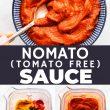 titled Pinterest collage (and shown): Tomato Free Nomato Sauce- Tomato Sauce Alternative