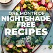 titled image of roasted vegetables on platter says: One Month of Nightshade Free Recipes
