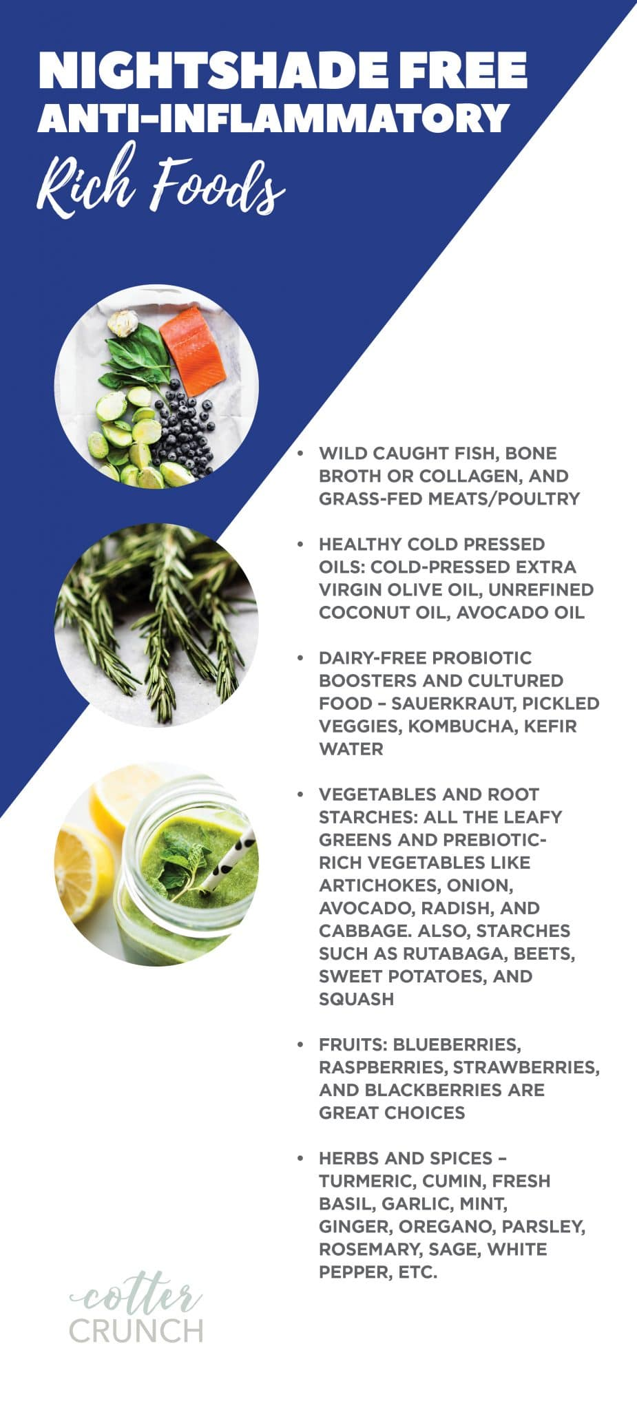 titled info graphic of nightshade free anti-inflammatory rich foods