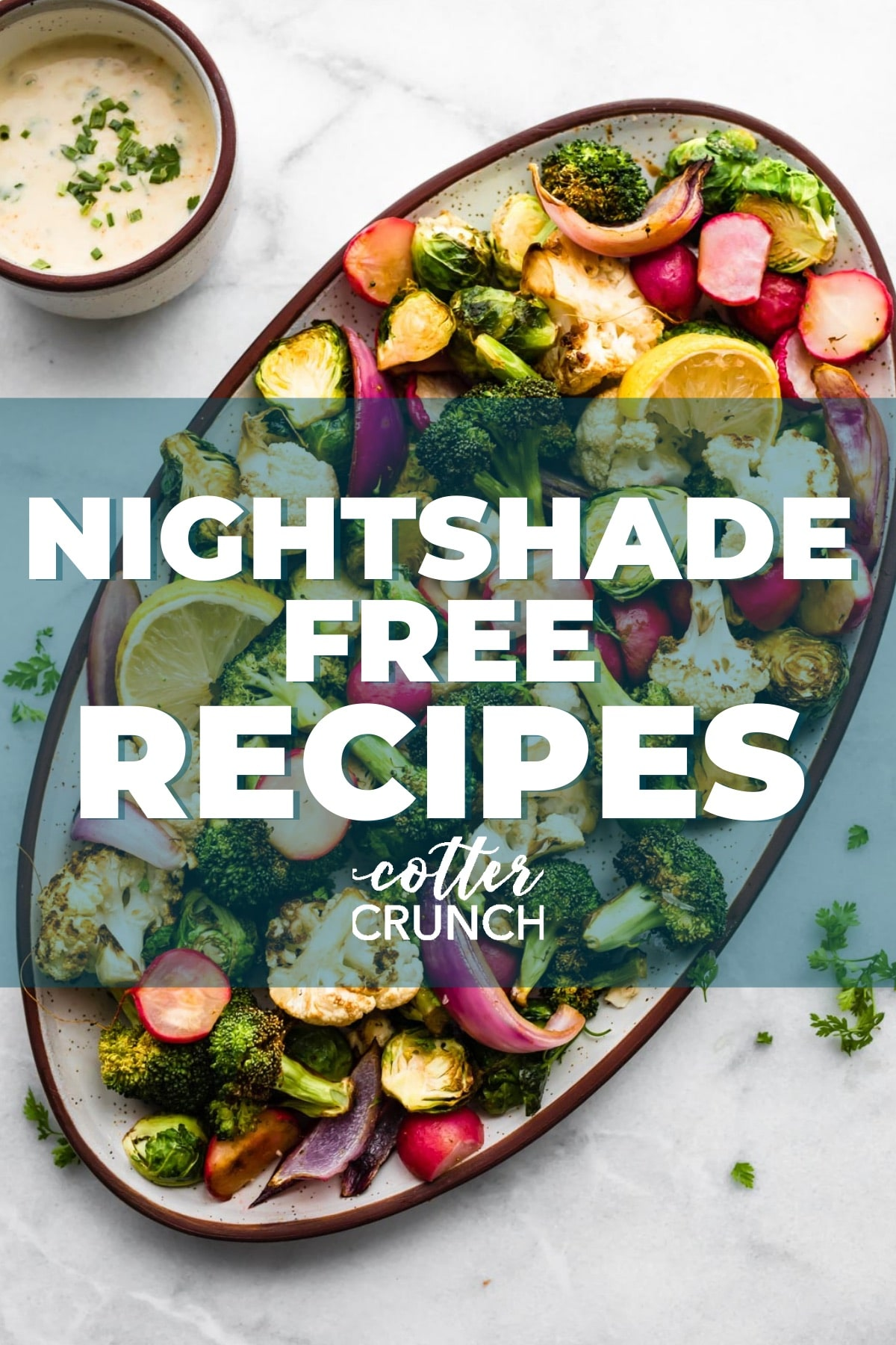 titled image: Nightshade Free Recipes (shown is a platter with assortment of roasted vegetables