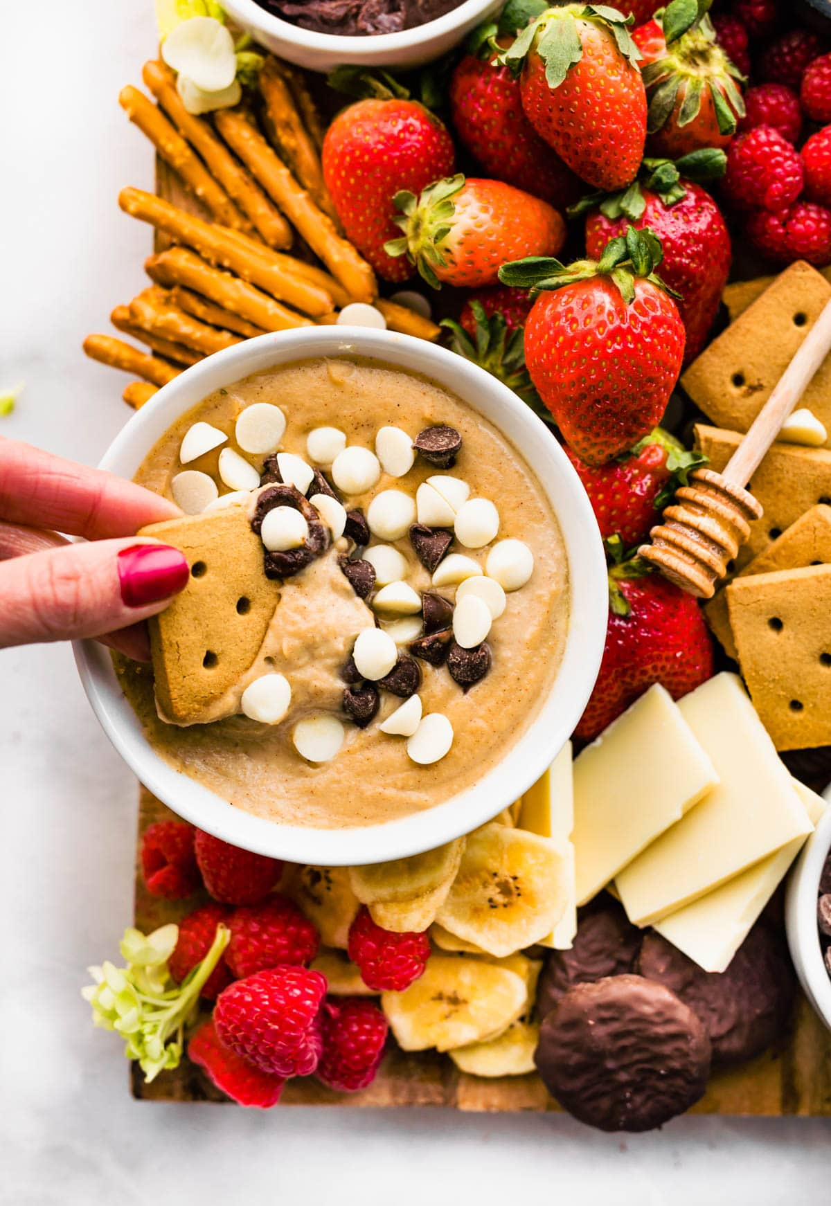 chickpea cookie dough dessert hummus on sugar free dessert platter