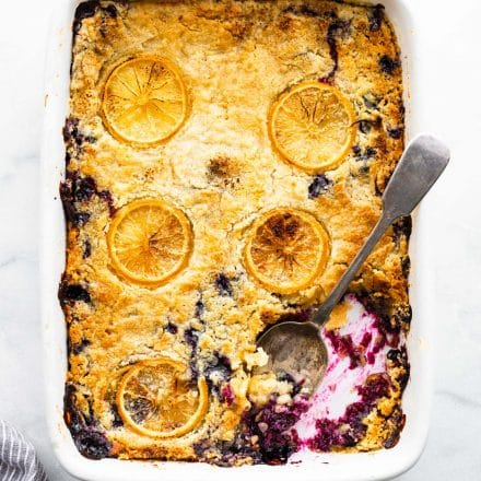Overhead image of gluten free lemon blueberry cake in baking dish