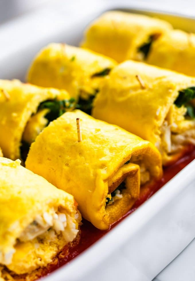 Detail image taken of egg lasagna roll ups before topping and baking
