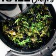 overhead photo of kale chips in air fryer. Crispy kale chips in open basket