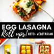 collage of egg lasagna noodles and finished dish with title of recipe