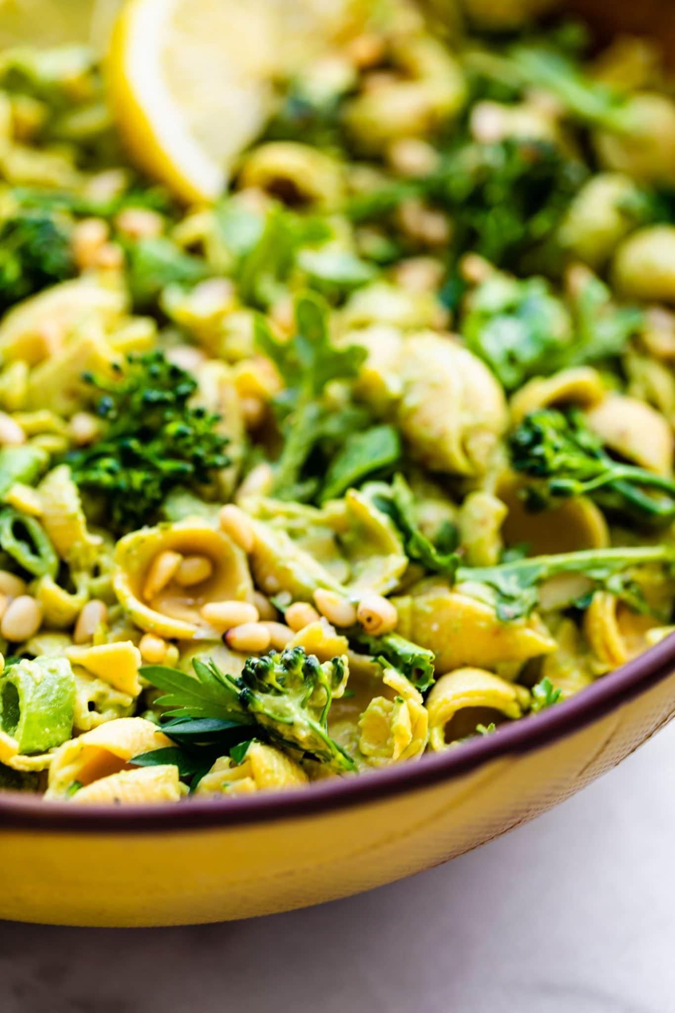 Close up image of vegan green goddess pasta salad.