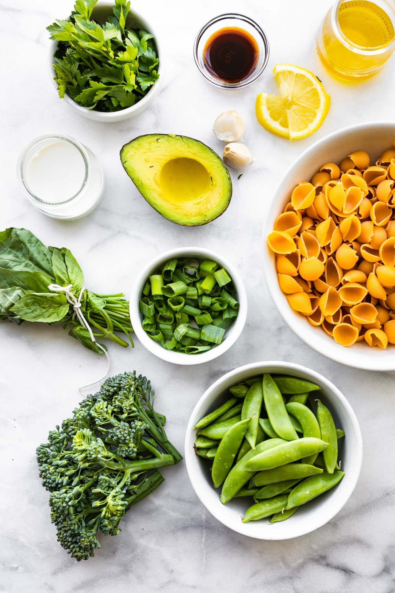 Ingredients for Green Goddess Pasta Salad