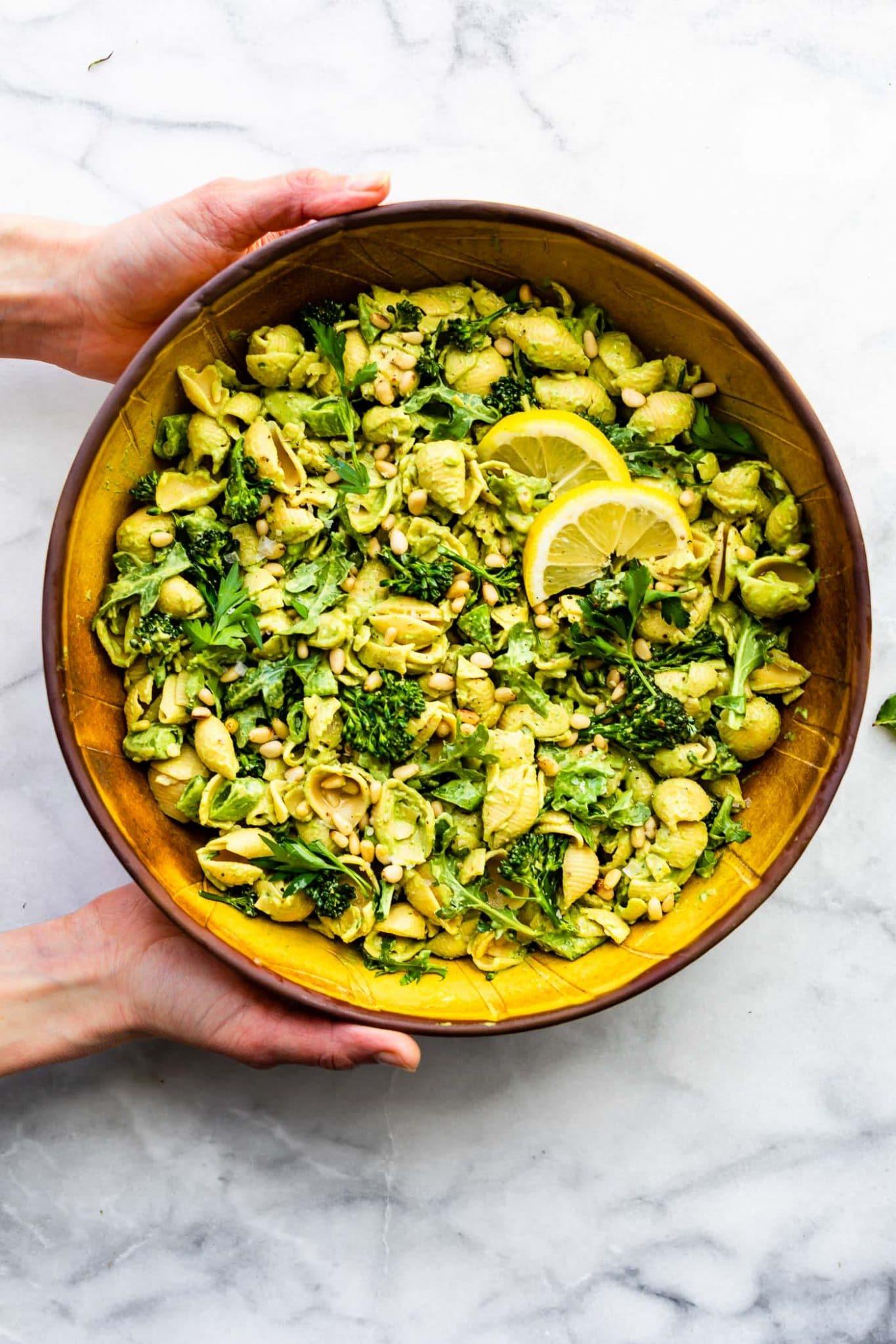 overhead image of green goddess pasta salad