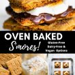 Oven-Baked S'mores Pin with four images of ingredients, process, and final smores.