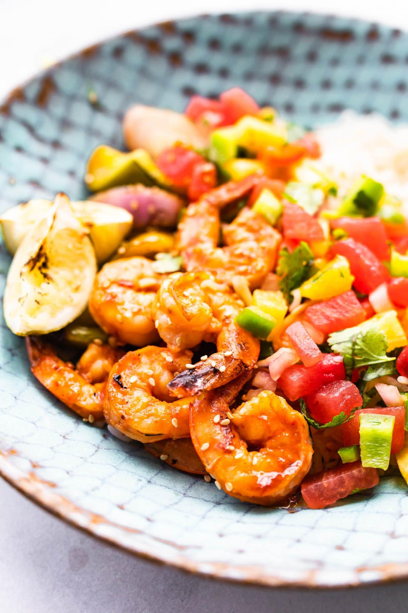 Close up image of watermelon salsa plated with broiled shrimp and rice.