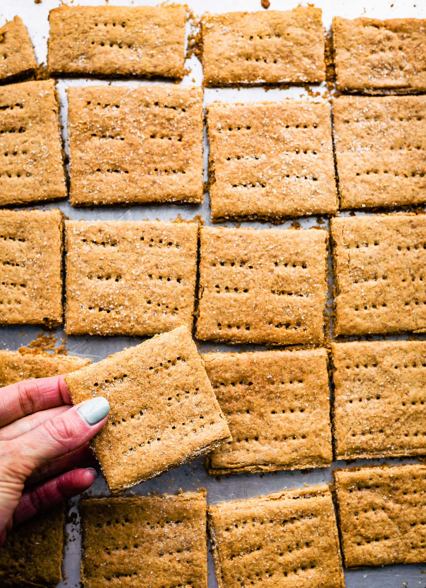 Overhead image of a hand reach in to grab a graham cracker out of a sheet pan of them.