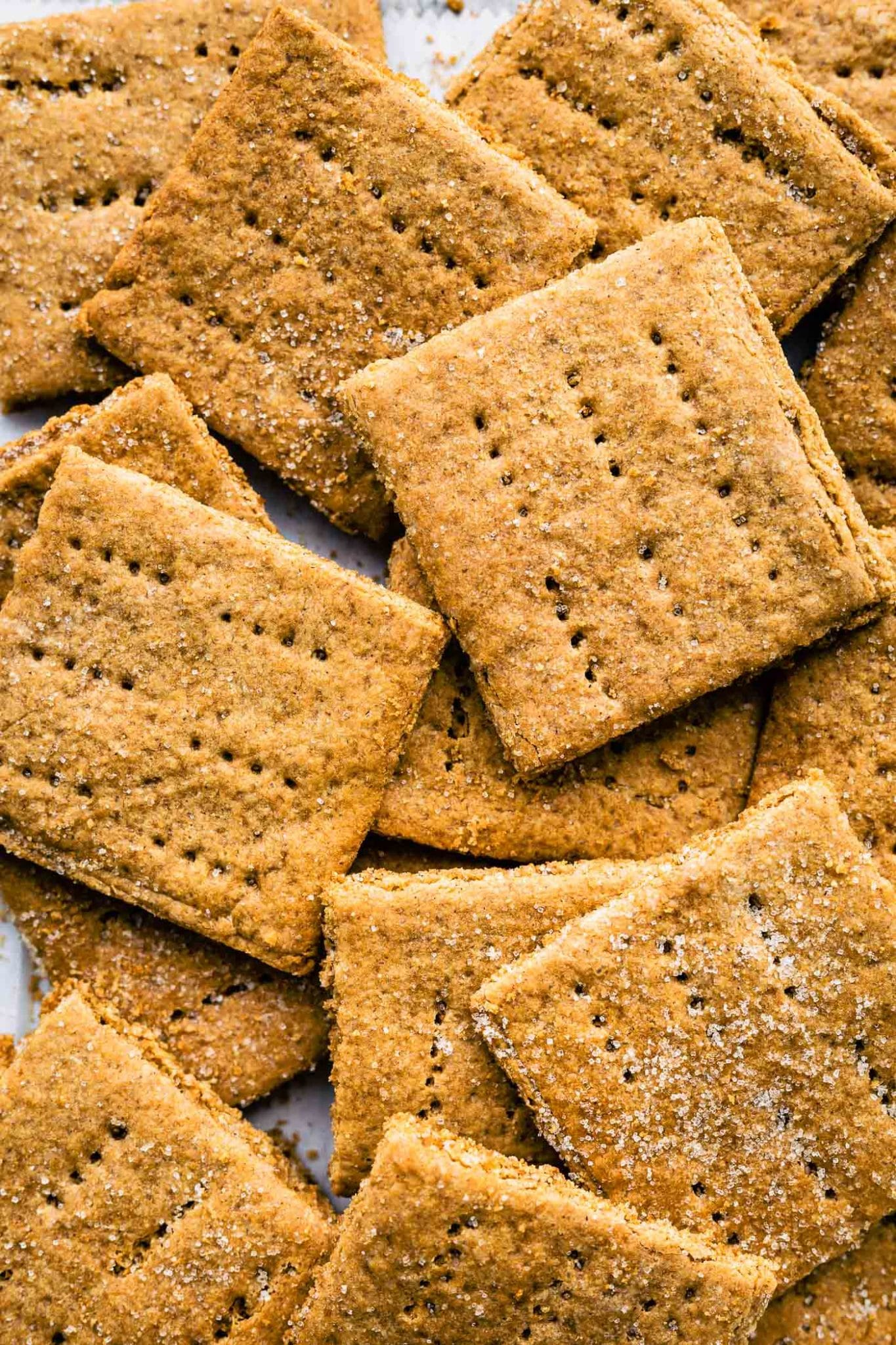 Overhead close up image of a pile of graham crackers.