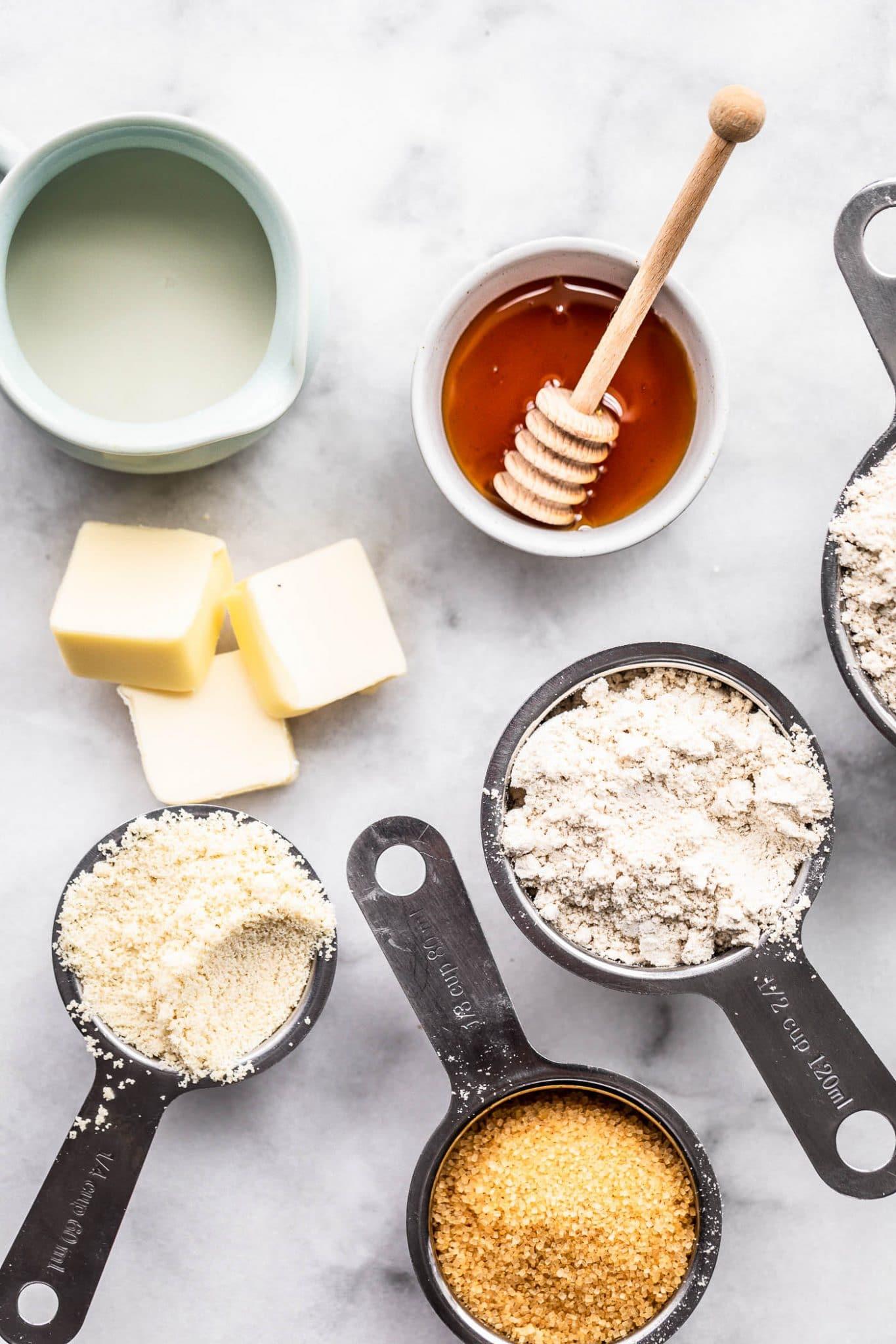 Overhead image of ingredients needed for gluten-free graham crackers.