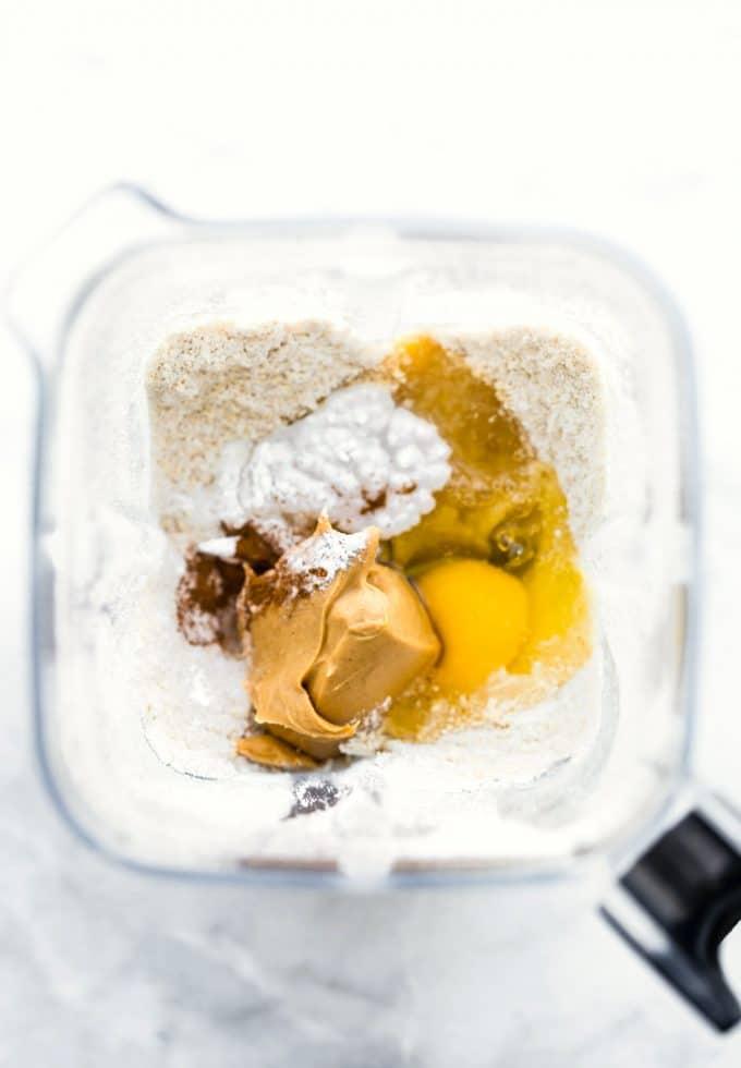 Overhead image of pancake ingredients in a blender.