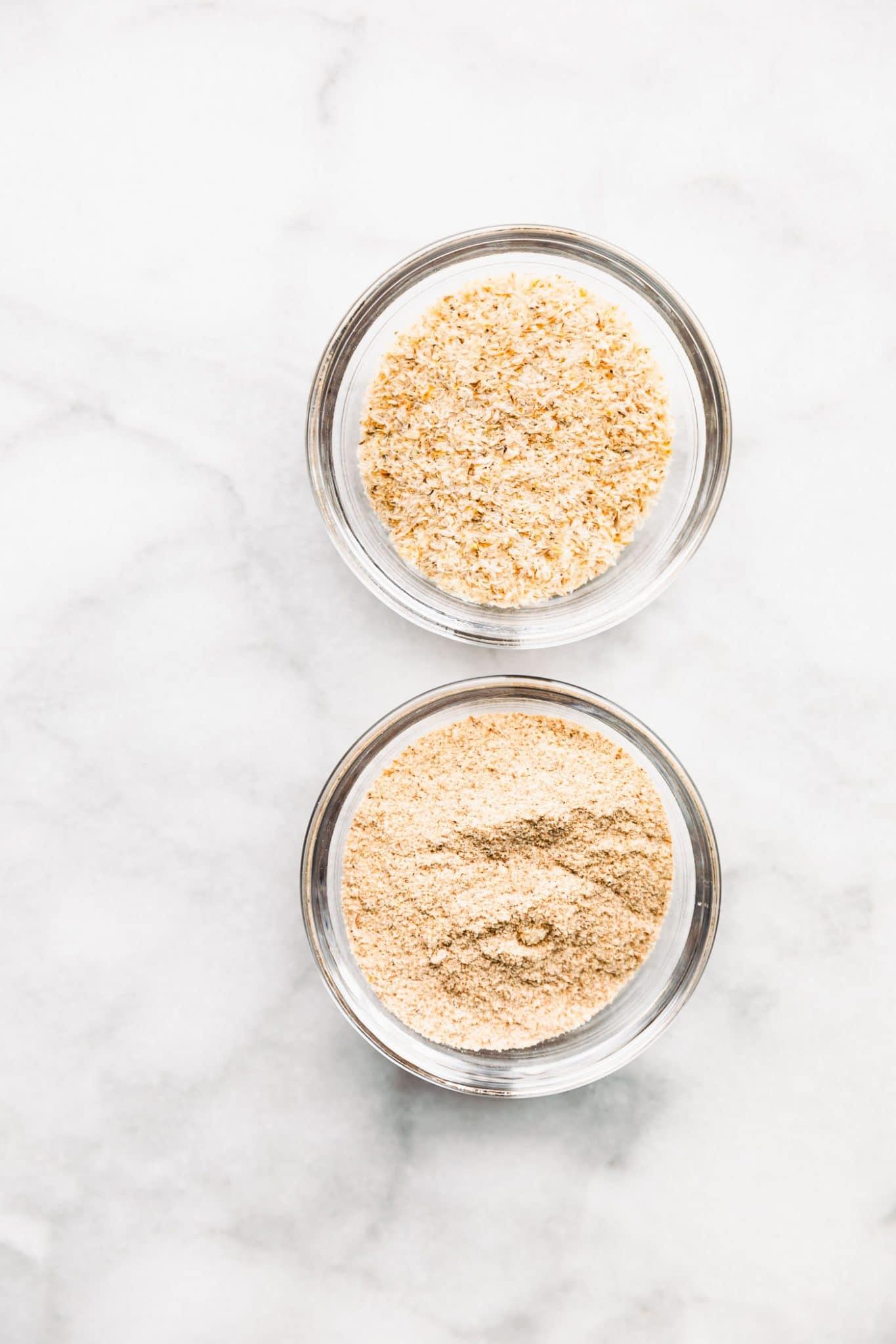 Psyllium Husk Fiber and powder in a comparison shot side by side.