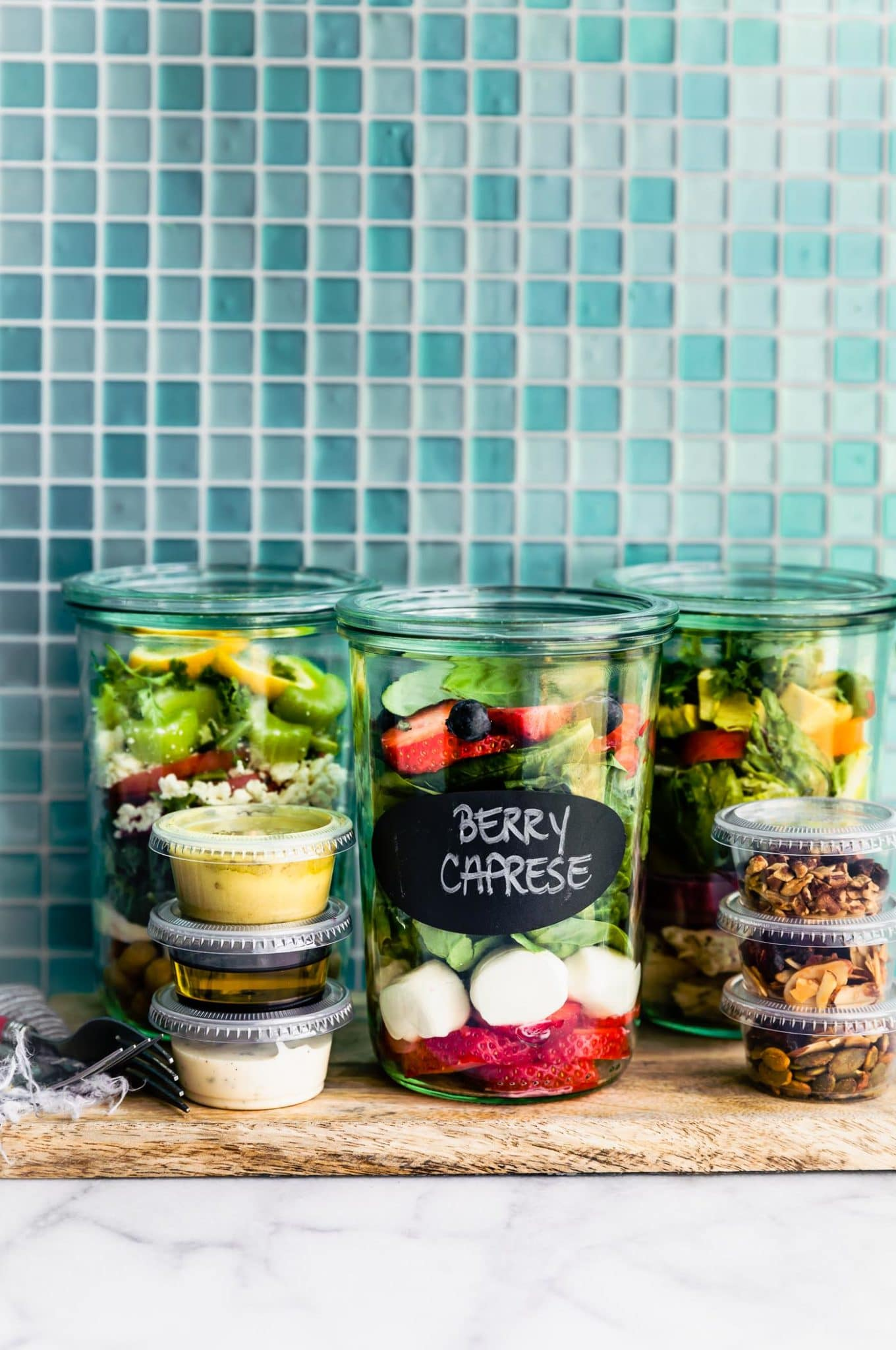 Close up image of mason jar salads.